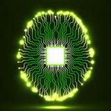 Cérebro de néon Processador central Placa de circuito Fundo abstrato da tecnologia Imagem de Stock