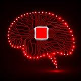Cérebro de néon Processador central Placa de circuito Fundo abstrato da tecnologia Foto de Stock