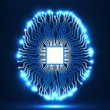 Cérebro de néon Processador central Placa de circuito Fundo abstrato da tecnologia Fotos de Stock Royalty Free