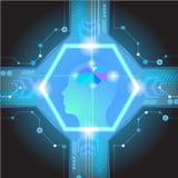 Cérebro digital abstrato do circuito bonde, Foto de Stock Royalty Free