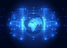 Cérebro digital do circuito abstrato, vetor global do conceito da tecnologia Foto de Stock Royalty Free