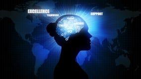 Cérebro do negócio: silhueta da mulher de negócios ilustração do vetor