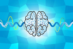 Cérebro e onda Imagens de Stock Royalty Free