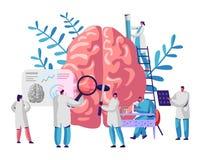 Cérebro e psicologia de Group Study Human do cientista do laboratório Microscópio da investigação médica Tomografia principal Exp ilustração royalty free