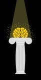 Cérebro em um suporte A luz cai na mente enlightenment Vetor Imagem de Stock Royalty Free