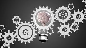 Cérebro em uma ampola e nas engrenagens ilustração stock