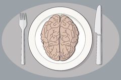 Cérebro em uma placa Fotografia de Stock