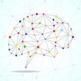Cérebro geométrico abstrato, conexões de rede Fotos de Stock