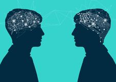 Cérebro humano contra o cérebro do cyber conexão com a mente humana, conceito da inteligência artificial ilustração do vetor
