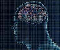 Cérebro humano nos pixéis Fotografia de Stock