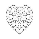 cérebro no formulário do fundo vazio do coração ilustração stock