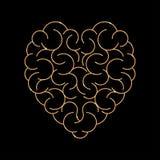 cérebro no formulário do fundo vazio do coração ilustração royalty free