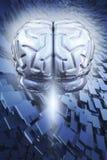 Cérebro no fundo abstrato   Fotos de Stock Royalty Free