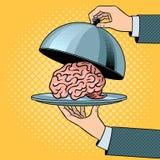 Cérebro no prato com vetor do pop art da campânula ilustração royalty free