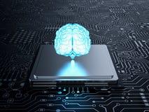 Cérebro no processador central Fotografia de Stock Royalty Free
