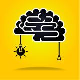 Cérebro preto no amarelo Imagem de Stock