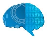 Cérebro Techy binário da inteligência artificial Foto de Stock