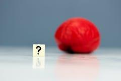 Cérebro vermelho com ponto de interrogação Fotos de Stock Royalty Free
