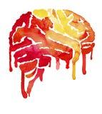 Cérebro vermelho e amarelo com borrões da pintura ilustração stock