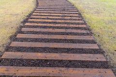 Césped de la calzada de madera de la trayectoria y de la hierba verde en la opinión de perspectiva Foto de archivo libre de regalías