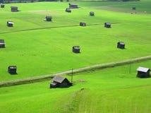 Césped verde con los pequeños graneros austríacos Fotos de archivo