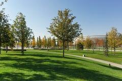 Céspedes verdes en el parque moderno Krasnodar de la ciudad cerca del estadio del club del fútbol del mismo nombre, construido a  foto de archivo libre de regalías