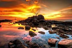 Céu alaranjado do por do sol Foto de Stock