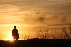 Céu alaranjado do por do sol Fotografia de Stock