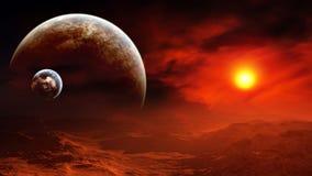 Céu ardente do planeta estrangeiro épico Imagem de Stock
