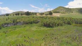 Céu azul claro infinito que estica acima das extensões ricas de prados de Chipre vídeos de arquivo