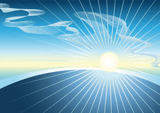 Céu azul com o sol de brilho Imagem de Stock Royalty Free