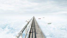 Céu azul da fantasia, nuvens bonitas e ponte Fotos de Stock Royalty Free