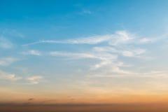 Céu azul do por do sol Foto de Stock