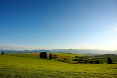 Céu azul dos prados verdes Fotos de Stock Royalty Free