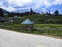 Céu azul e campo verde Fotografia de Stock