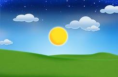 Céu azul e campo verde bonito Fotografia de Stock Royalty Free