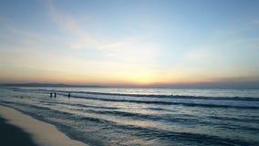 Céu azul e nadadores azuis do oceano na água do mar video estoque