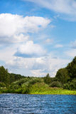 Céu azul e nuvens brancas, floresta verde e águas azuis do rio Foto de Stock Royalty Free