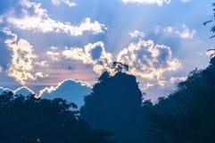 Céu azul e nuvens na manhã, natureza da silhueta Imagem de Stock