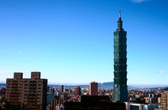 Céu azul e Taipei 101 Fotografia de Stock Royalty Free