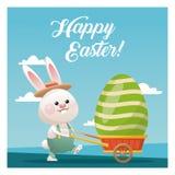 céu azul levando do ovo do coelhinho da Páscoa feliz Imagem de Stock