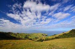 Céu azul sobre a península de Coromandel fotos de stock