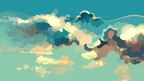 Céu azul tirado desenhos animados com nuvens coloridas ilustração royalty free