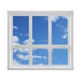 Céu azul visto através do indicador Fotografia de Stock Royalty Free