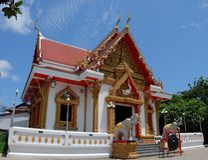 Céu azul Wat Rong chang Fotos de Stock Royalty Free