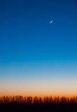 Céu bonito da noite que encera o crescente Fotografia de Stock Royalty Free