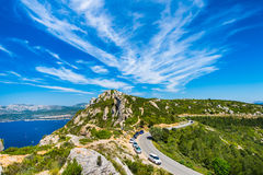 Céu bonito sobre o ` Azur da costa d Foto de Stock