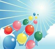 Céu brilhante da ilustração de Baloon Fotos de Stock Royalty Free