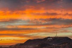 Céu colorido sobre Hollywood Imagem de Stock