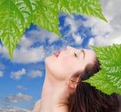 céu com face das mulheres Fotografia de Stock Royalty Free